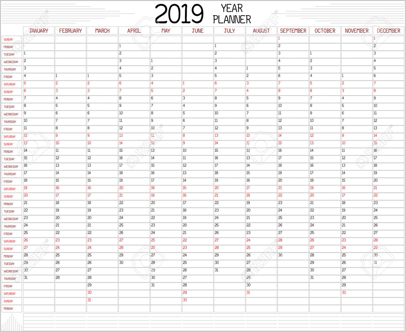 2019 Planner Calendar Year 2019 Planner   An Annual Planner Calendar For The Year 2019