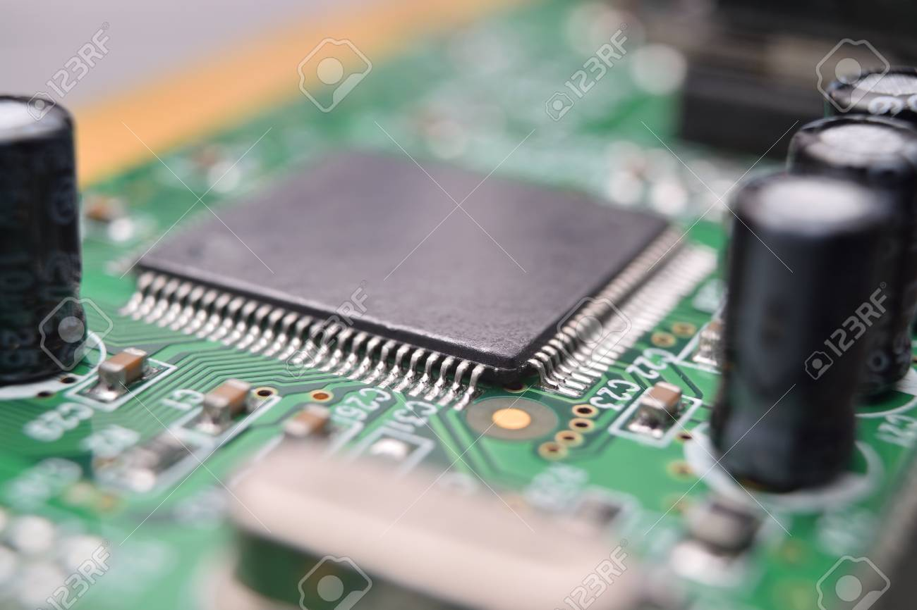 Close Up Of Electronic Components On Pcb Board Stock Photo Picture Stockfoto Printed Circuit Used In Industrial 85433726