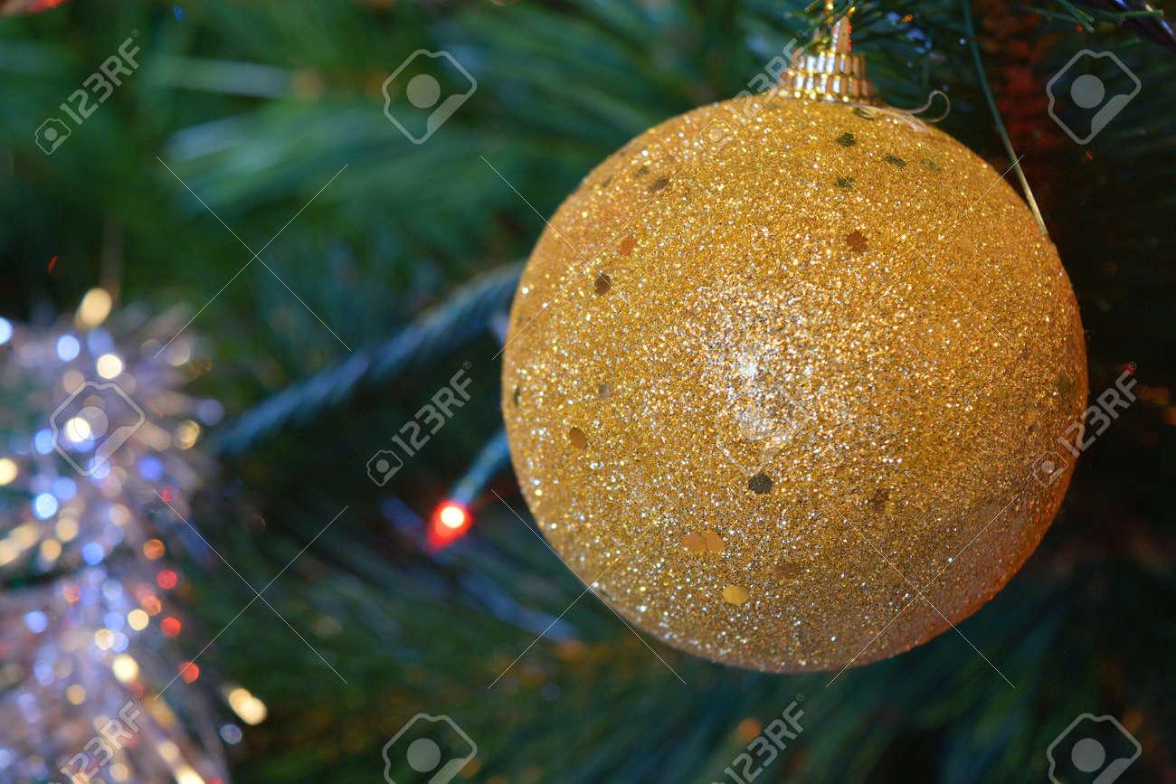 christmas balls on tree with lights and stars - 92316003