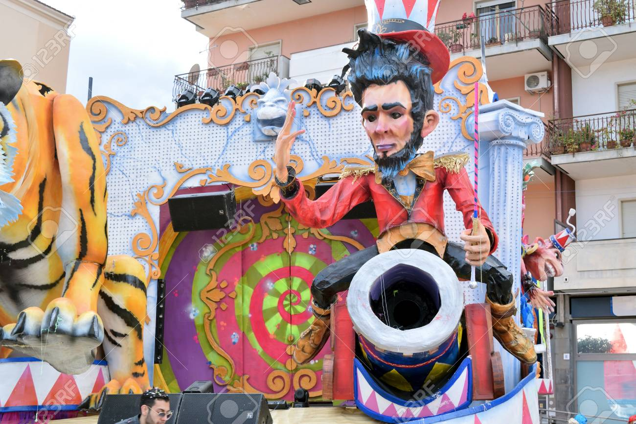 Acireale (CT), Italy - February 11, 2018: detail of a allegorical float depicting a circus character during the carnival parade along the streets of Acireale. - 105182683