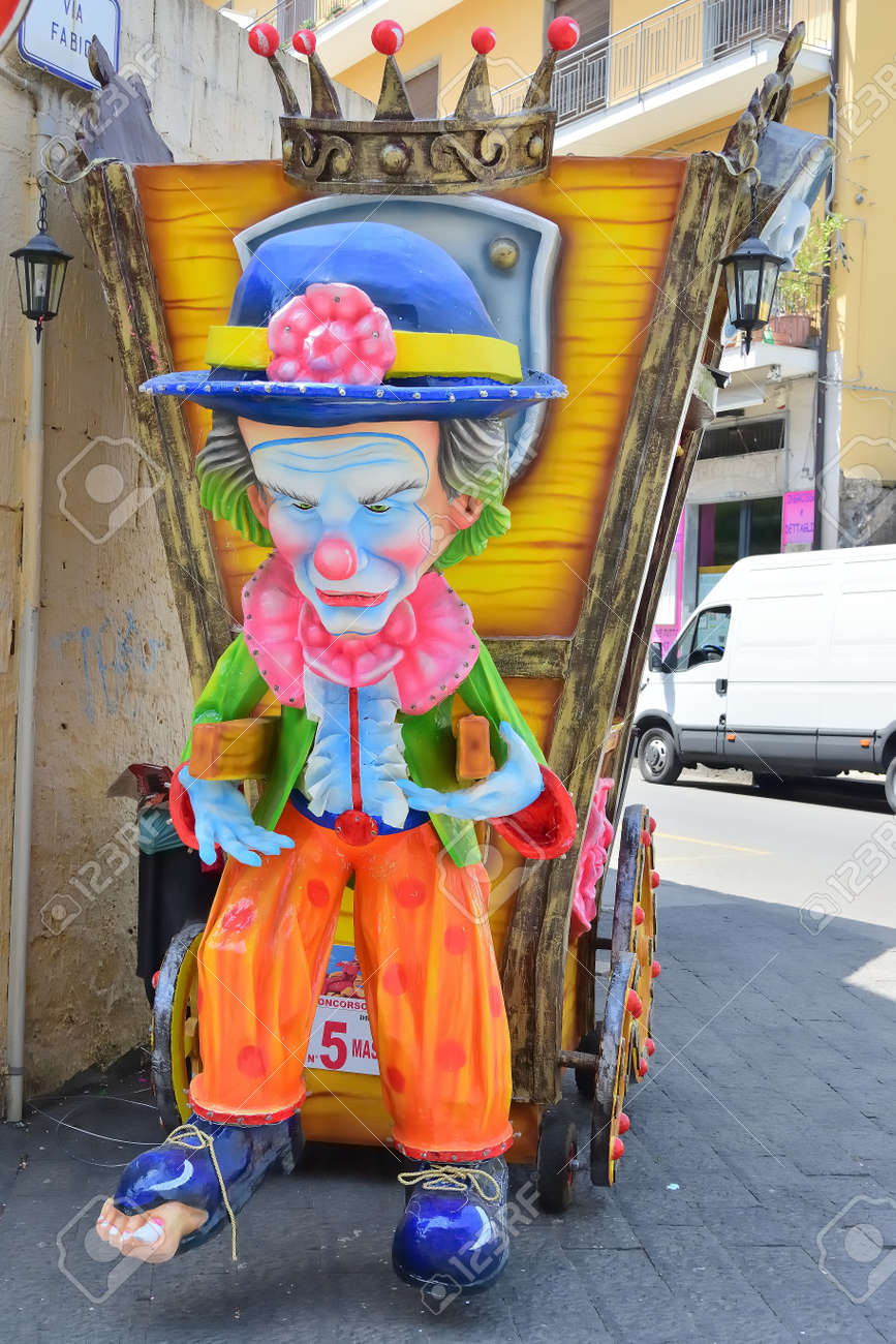 Acireale (CT), Italy - April 29, 2018: detail of a allegorical float depicting various fantasy characters during the carnival parade along the streets of Acireale. - 105184313