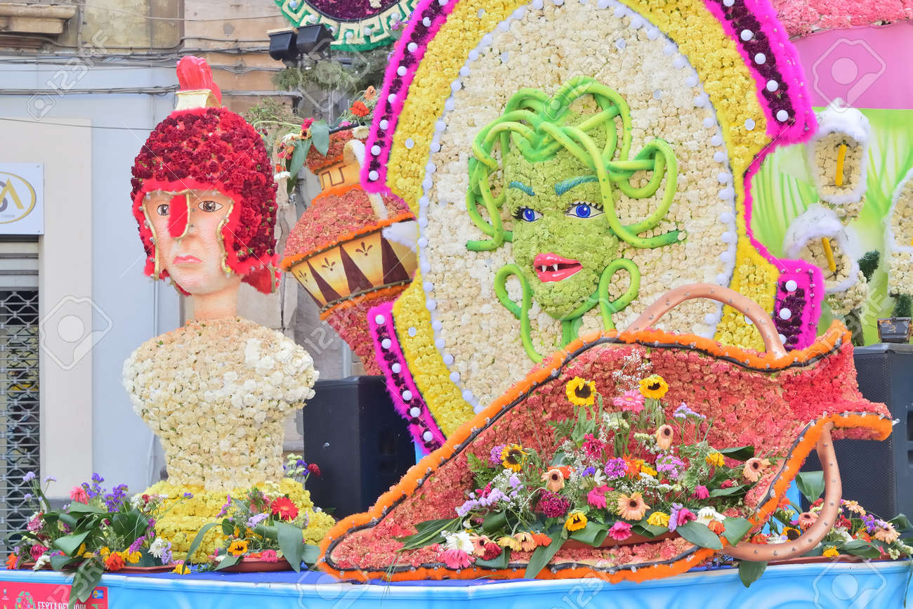 Acireale (CT), Italy - 29 April 2018: detail of a flowery float depicting various characters of fantasy during the parade of the flowers festival along the streets of Acireale. - 105184319