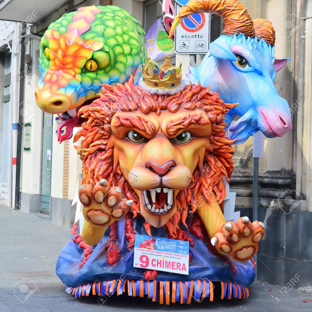 Acireale (CT), Italy - April 29, 2018: detail of a allegorical float depicting various fantasy characters during the carnival parade along the streets of Acireale. - 105184326