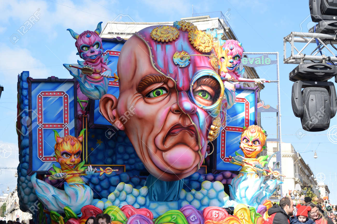 Acireale (CT), Italy - February 16, 2020: detail of a allegorical float depicting various fantasy characters during the carnival parade along the streets of Acireale. - 141805583