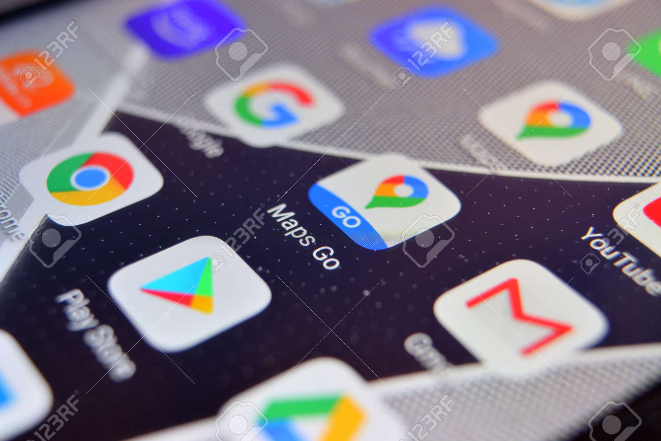 Valverde, Utalia - April 02, 2020: Close-up view of Google Maps Go app on an Android smartphone, including other icons. - 144182291