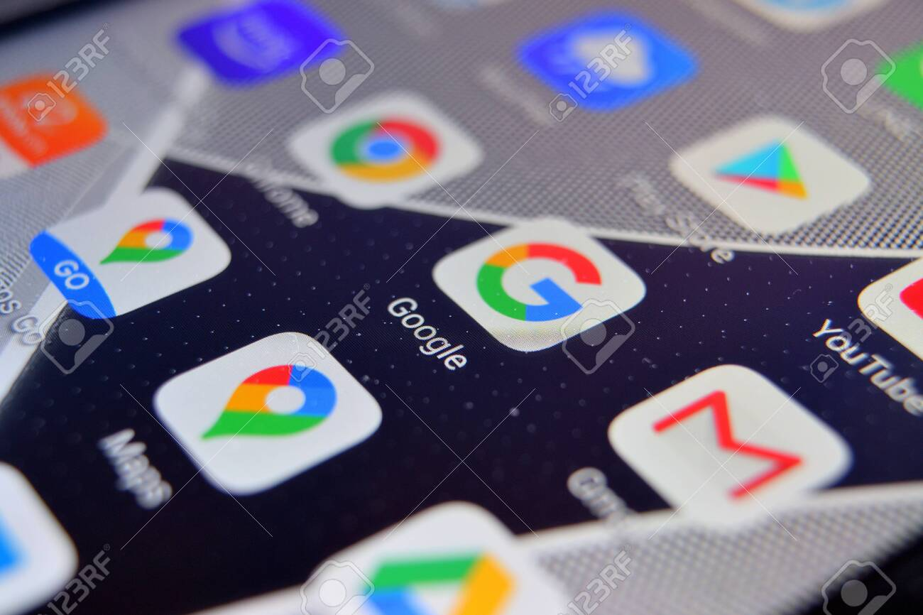 Valverde, Utalia - April 02, 2020: Close-up view of Google browser app on an Android smartphone, including other icons. - 144182294