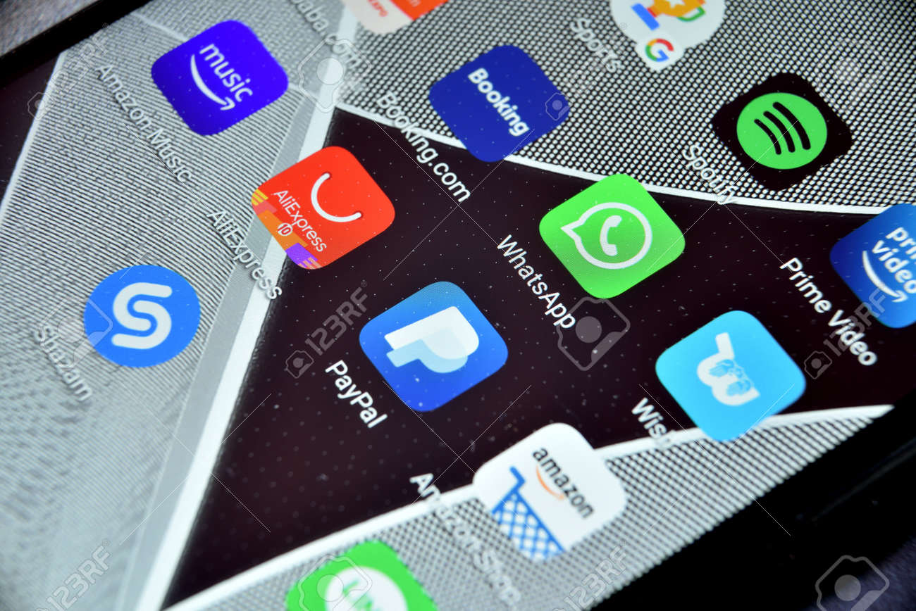 Valverde (CT), Italy - April 12, 2020: Close-up view of WhatsApp icon app on an Android smartphone, including other icons. - 144637993