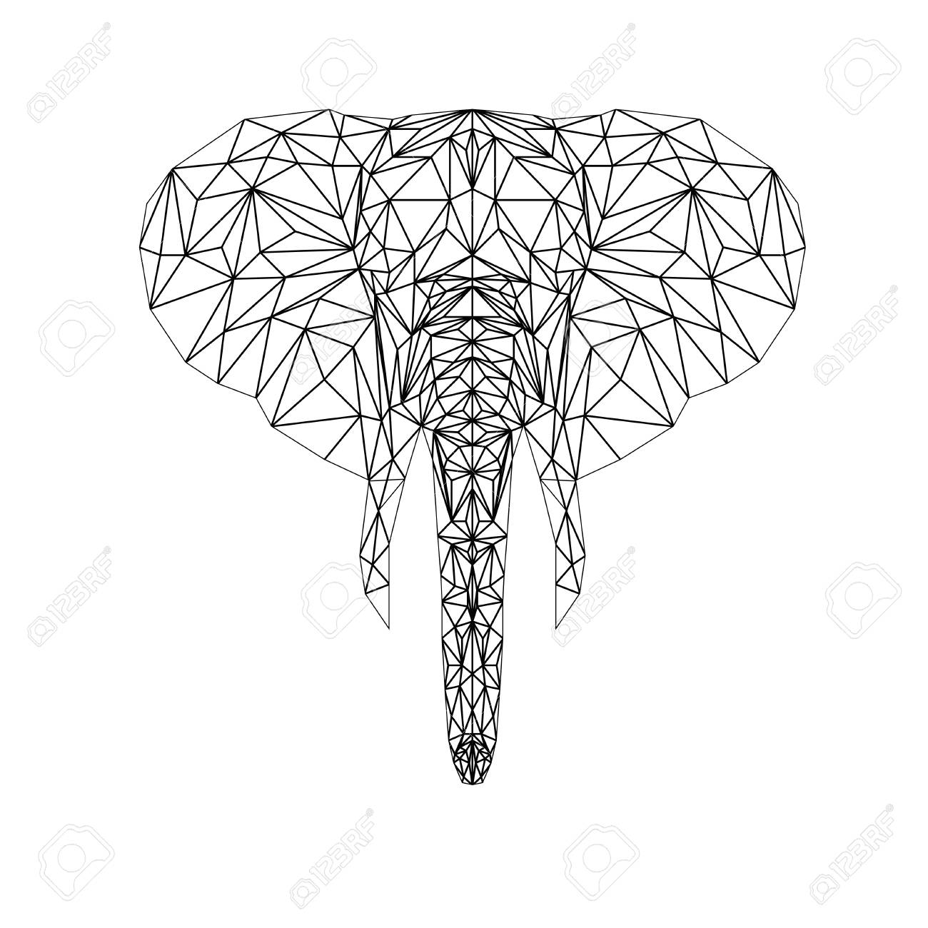 Elephant Illustration For Tattoo Coloring Wallpaper And Printing On T Shirts Silhouette