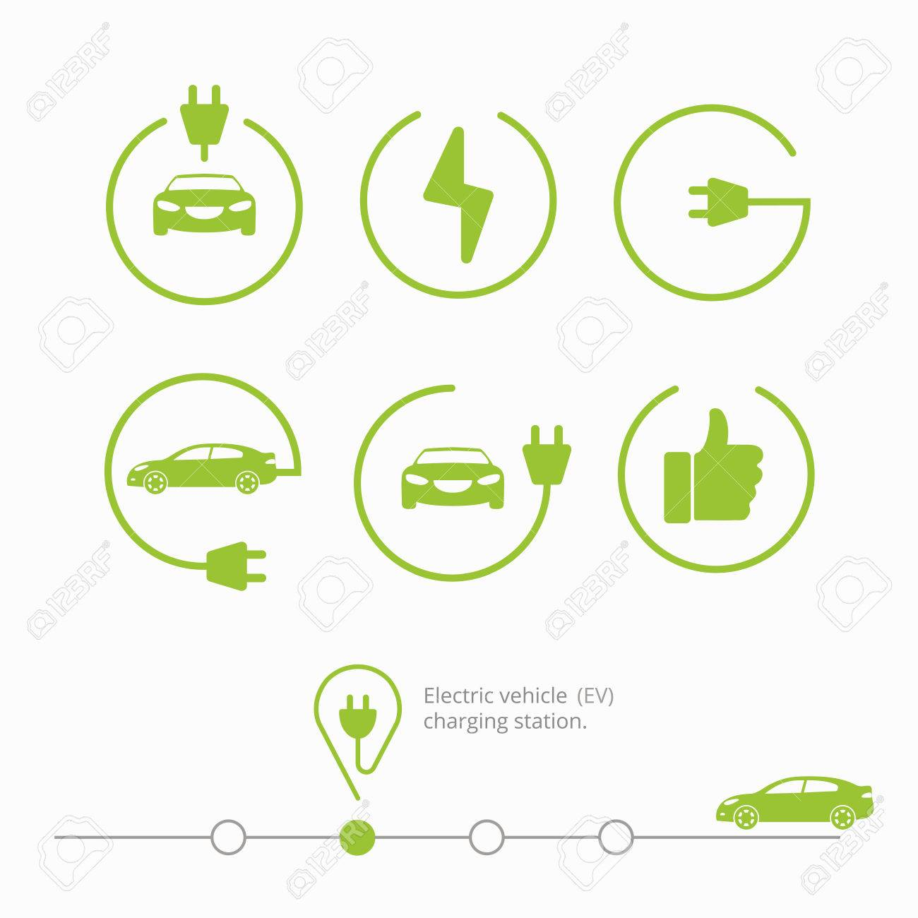Icons Electric Vehicle Charging Station Isolated Electric Car Royalty Free Cliparts Vectors And Stock Illustration Image 63006817