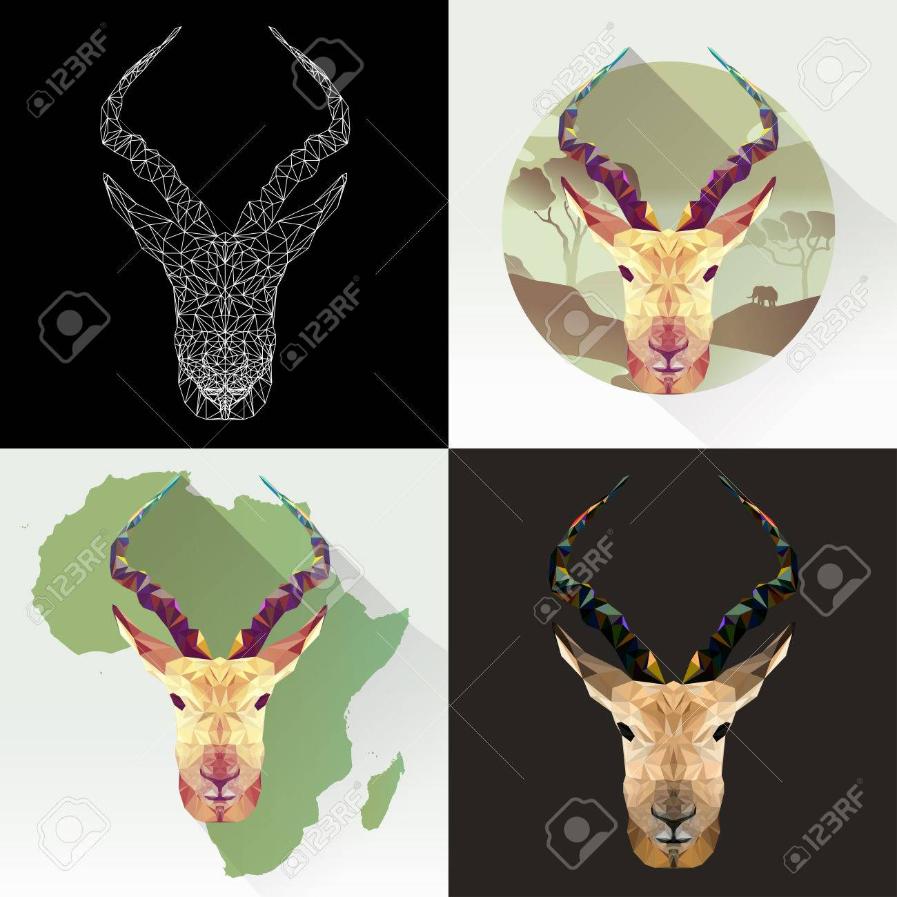 Vector Set Animal For Tattoo, Coloring, Wallpaper, Poster And ...