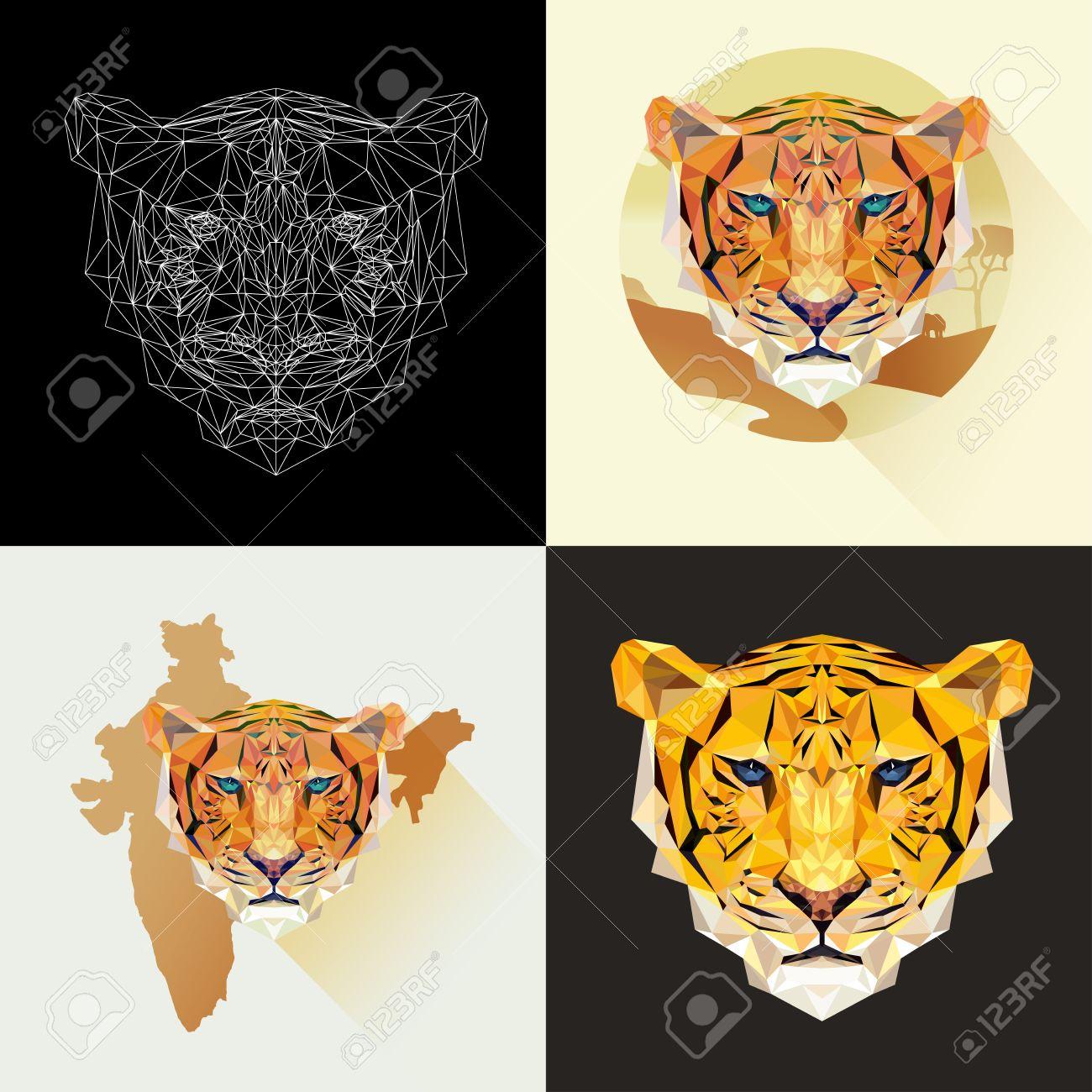 Conjunto de vectores los tigres de estilo poligonal animal depredador cara del tigre para el tatuaje papel pintado cartel y la impresión en camisetas