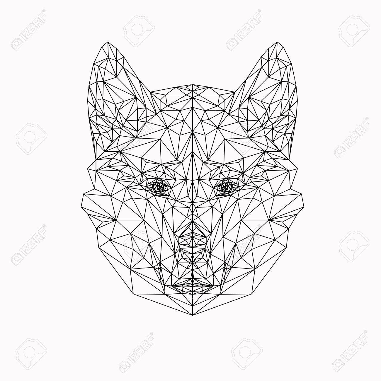 Vector Dog In Thin Line Style Abstract Low Poly Animal Wolf