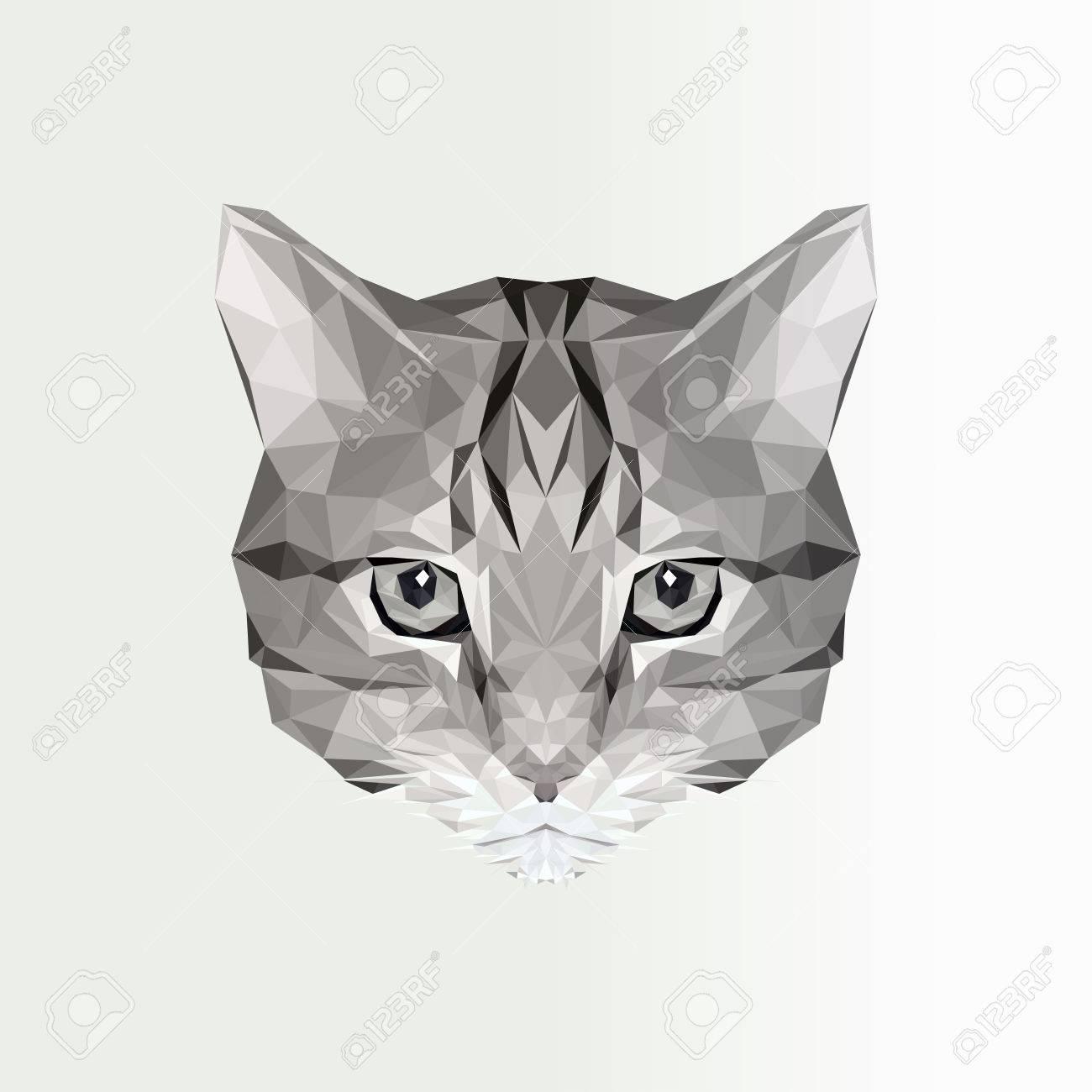 Ilustración Vectorial De Bajo Icono De Gato Poly. Silueta Poligonal ...