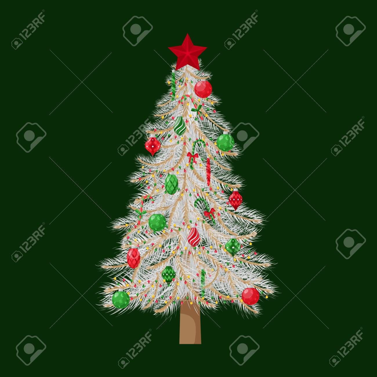 Christmas Tree With White Branches Decorated With Christmas Royalty Free Cliparts Vectors And Stock Illustration Image 157189028