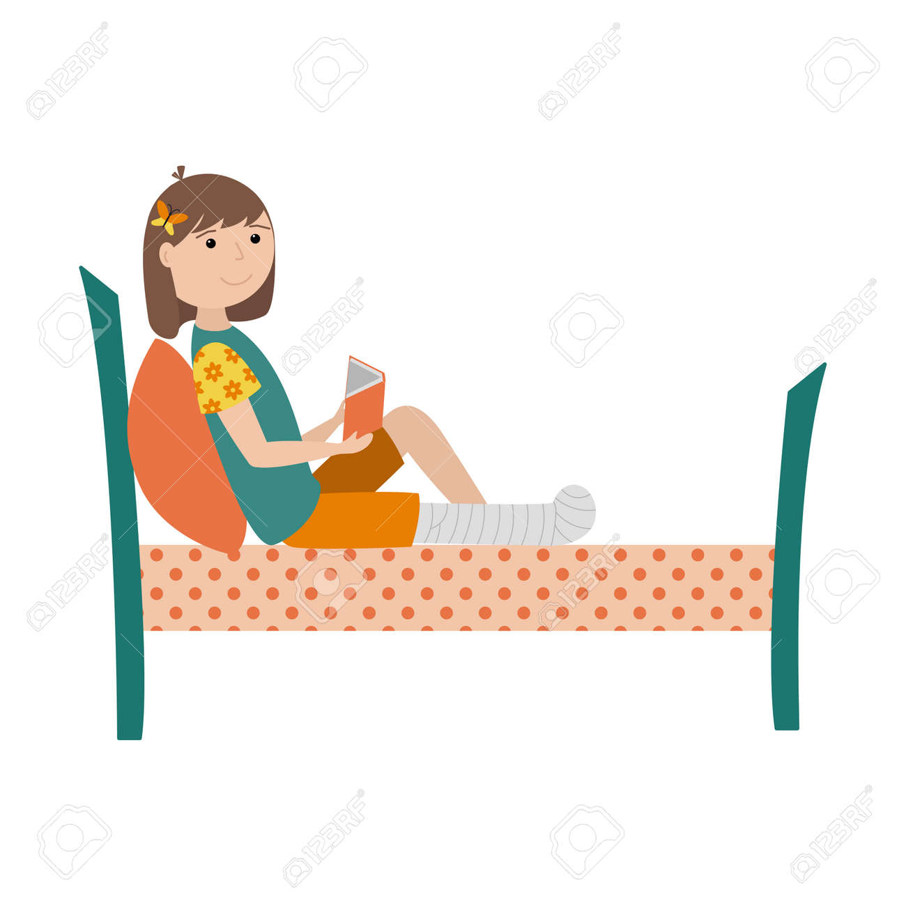 A girl with a broken leg is lying on the bed with a book in her hands. The leg is bandaged and fixed with a cast. Color illustration with children in a flat style. Isolated on a white background. - 170498964