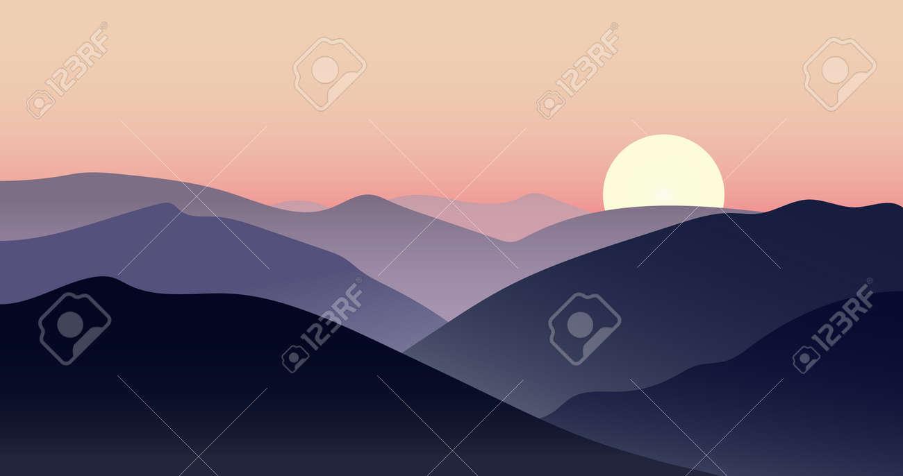 Vector mountain sunset landscape with sun - 55593778