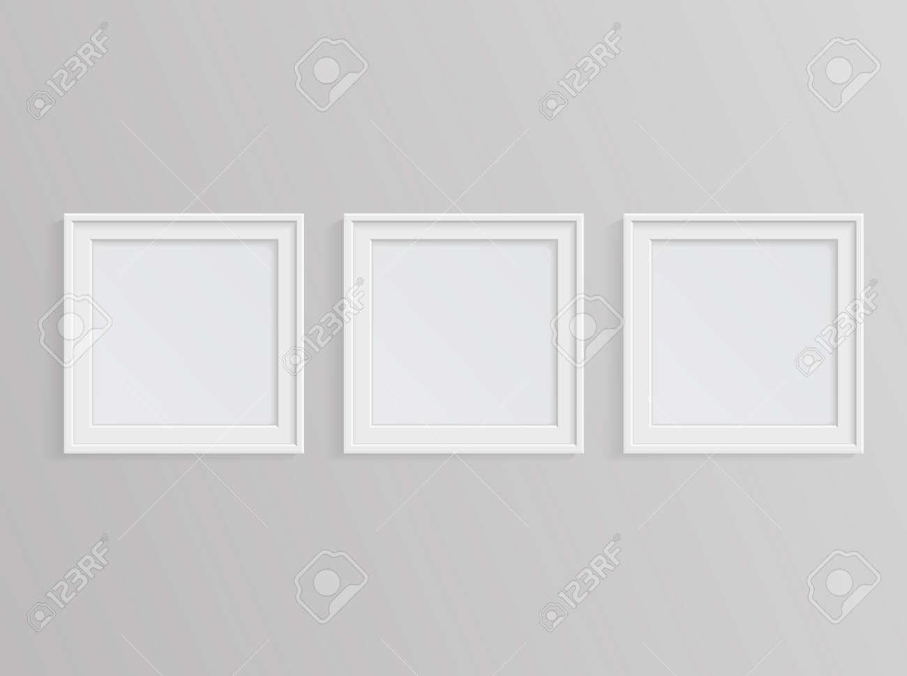 Set Von Weißen Bilderrahmen Auf Graue Wand Lizenzfrei Nutzbare ...