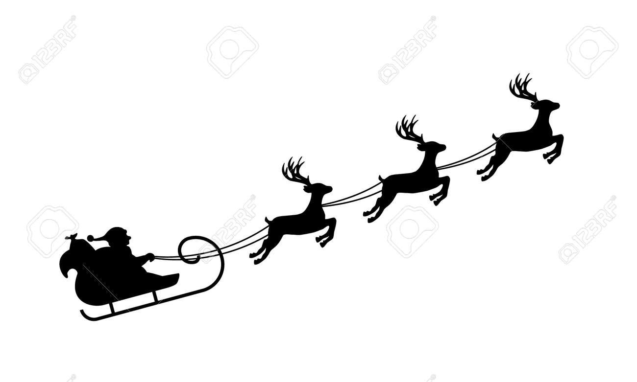 Silhouette Isolée Du Traîneau Du Père Noël Noir Sur Blanc
