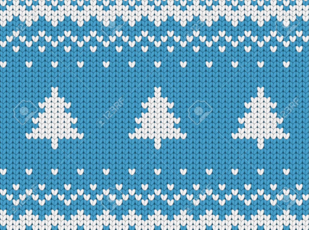 Gestrickte Nahtlose Blauen Weihnachten Muster Mit Weihnachtsbäume ...
