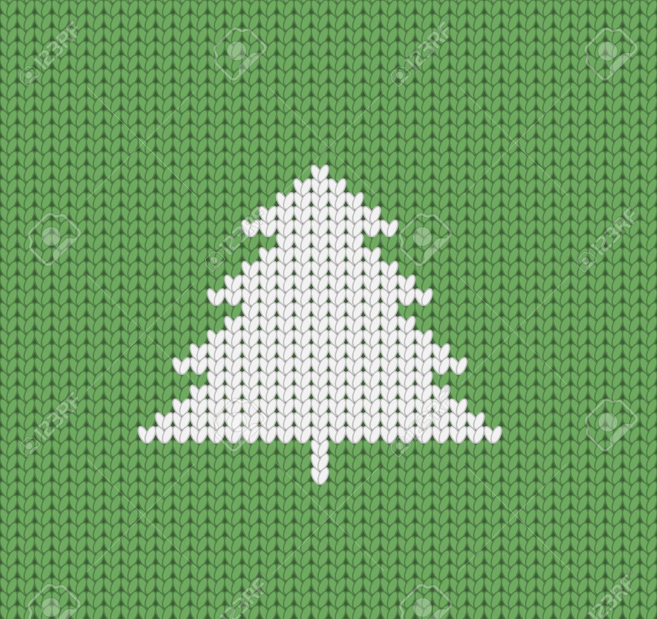 Knitted Green Christmas Pattern Wiht Christmas Tree, Christmas ...