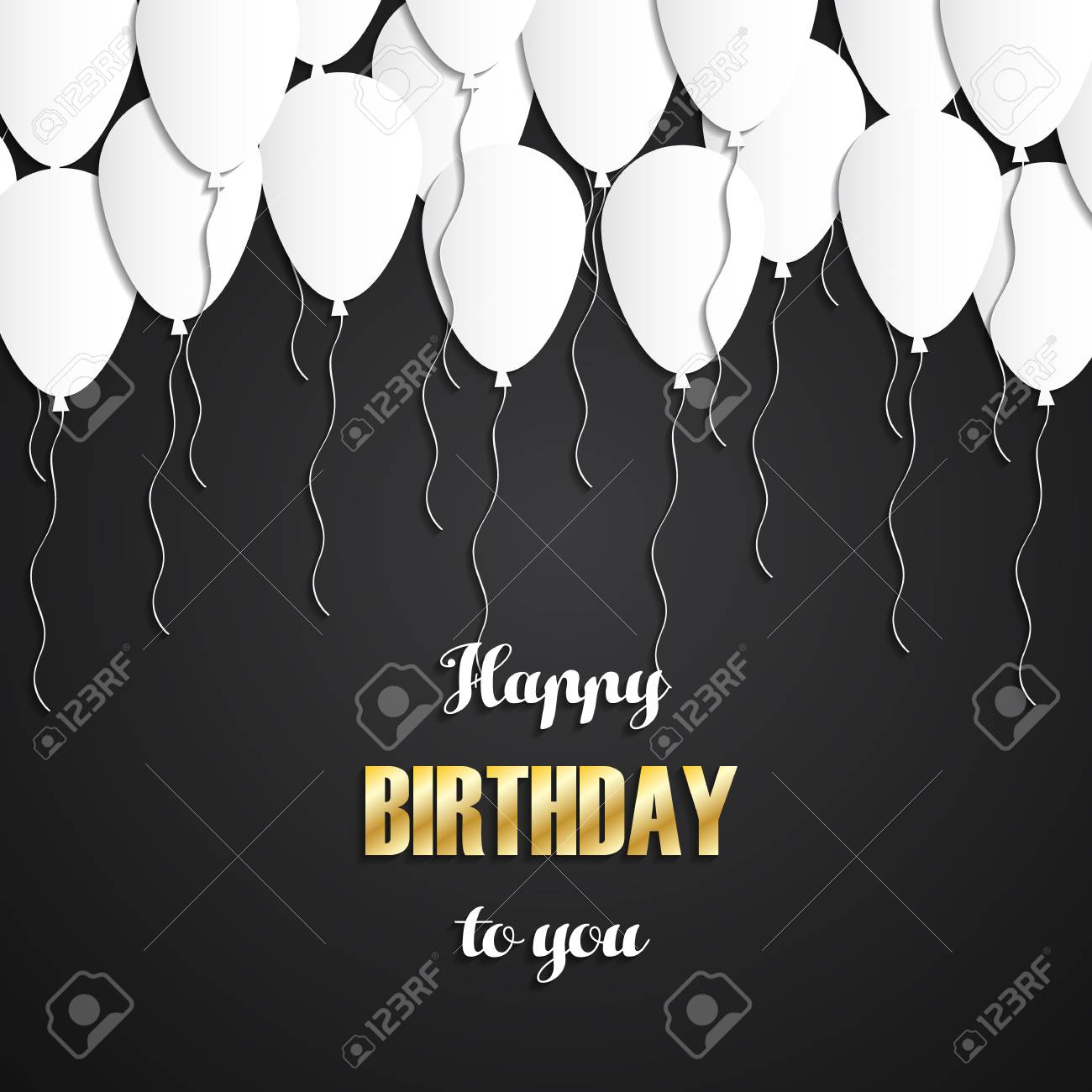 Happy Birthday Greeting Card With White Balloons And Gold Letters On Black Background Stock Vector