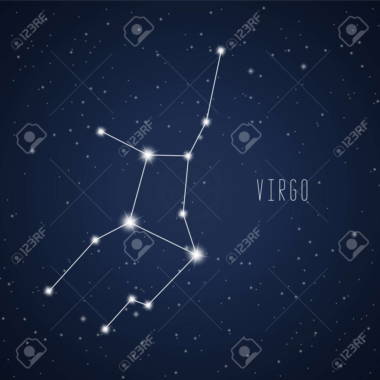 Vector illustration of Virgo constellation on the background of starry sky - 70670278