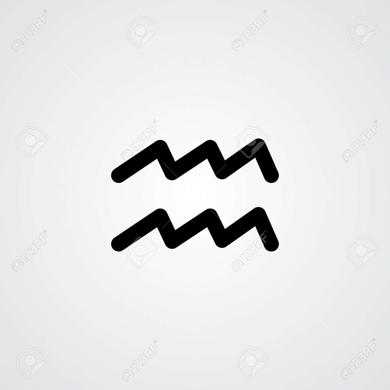 Aquarius Zodiac Symbol Black Zodiac Flat Isolated Icon On The