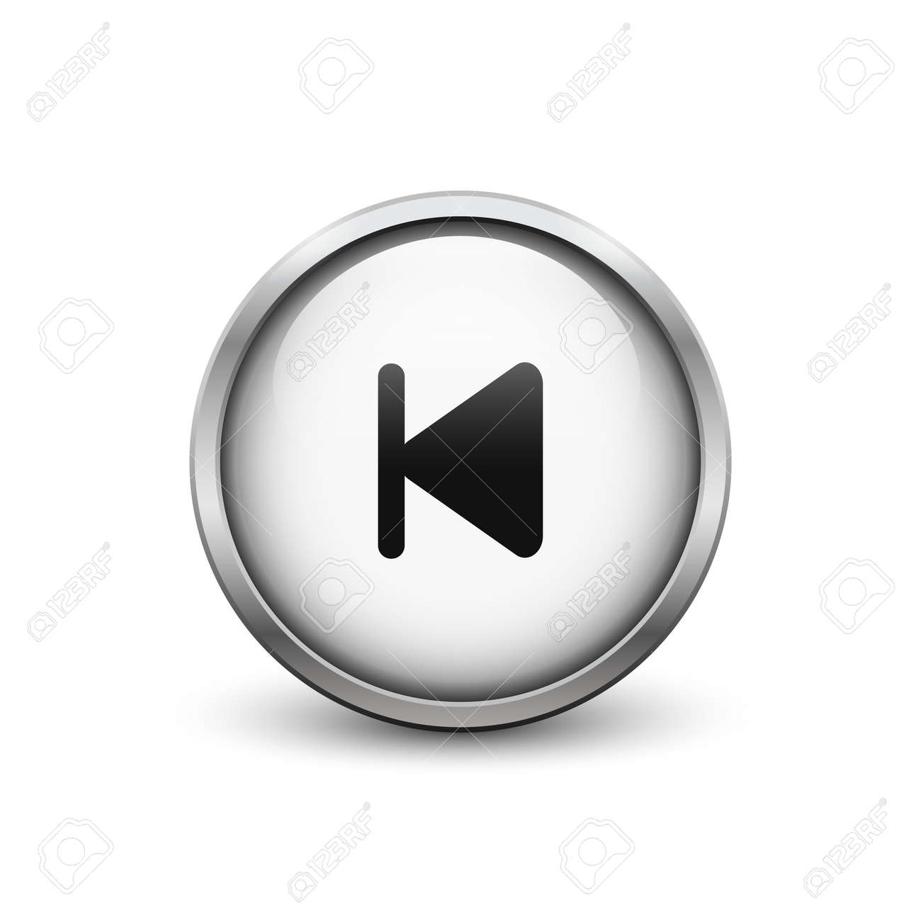 Skip To Start\' White Button With Metal Frame And Shadow Royalty Free ...