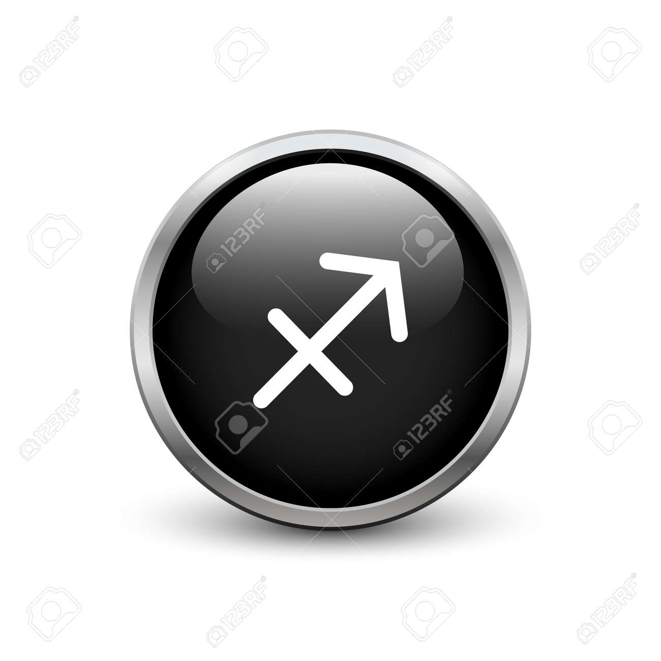 Sagittarius Zodiac Symbol Black Button With Metal Frame And