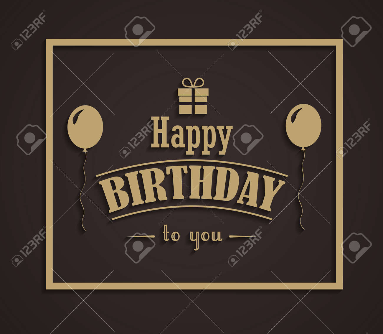 Happy birthday greeting card in vintage style in gold and chocolate happy birthday greeting card in vintage style in gold and chocolate colors stock vector 77457190 m4hsunfo