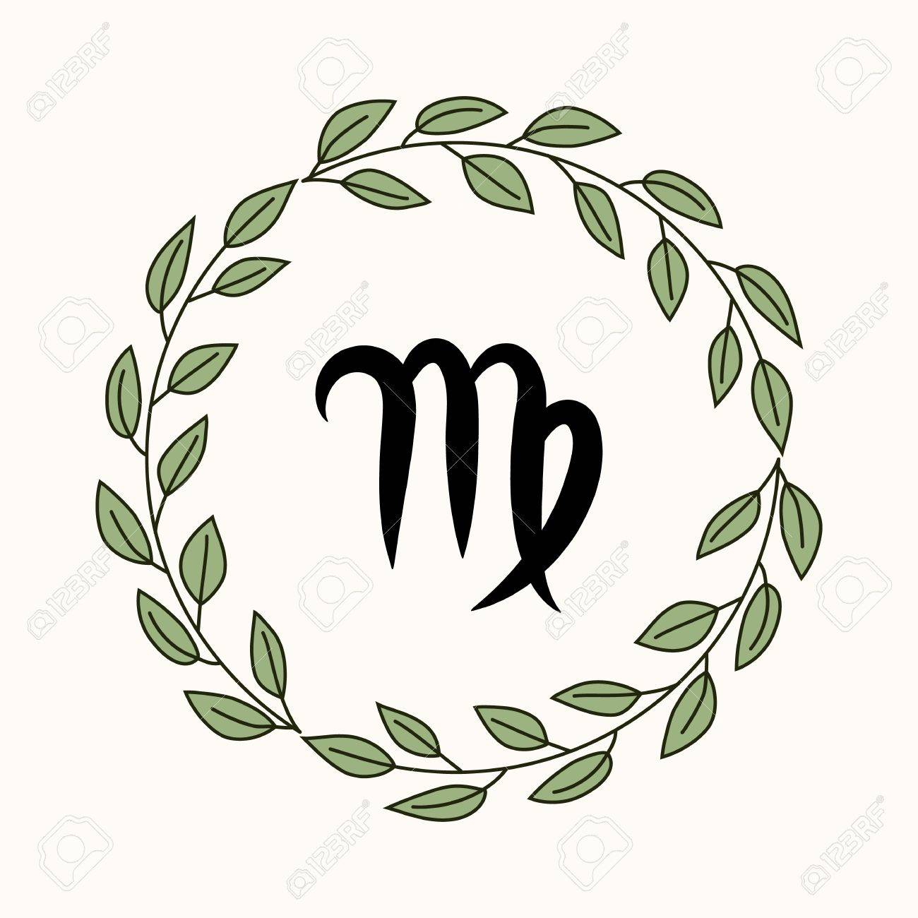 Hand Drawing Flat Virgo Symbol In Rustic Floral Wreath Stock Vector