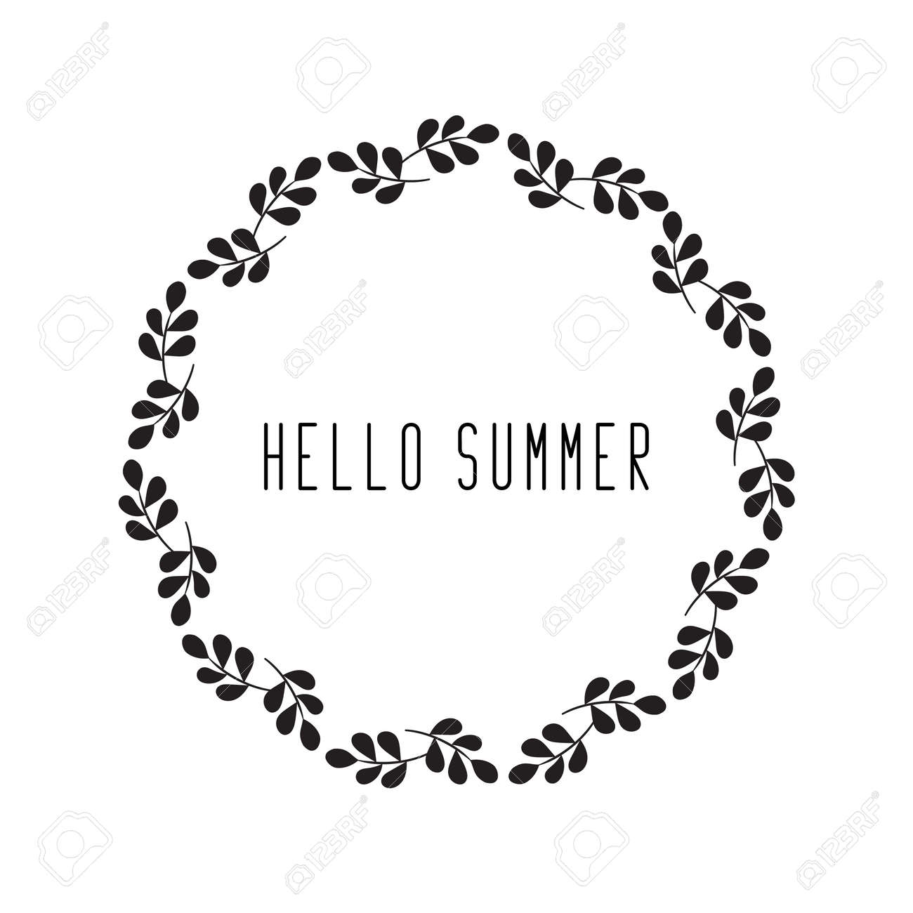 Round Floral Rustic Frame Simple Hello Summer Wreaths On White Background Stock Vector