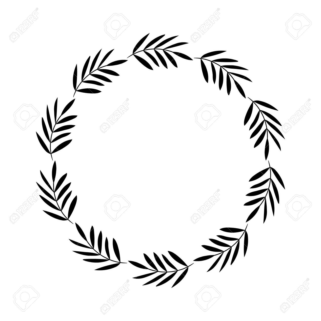 Round Floral Rustic Frame Simple Wreath On White Background Stock Vector