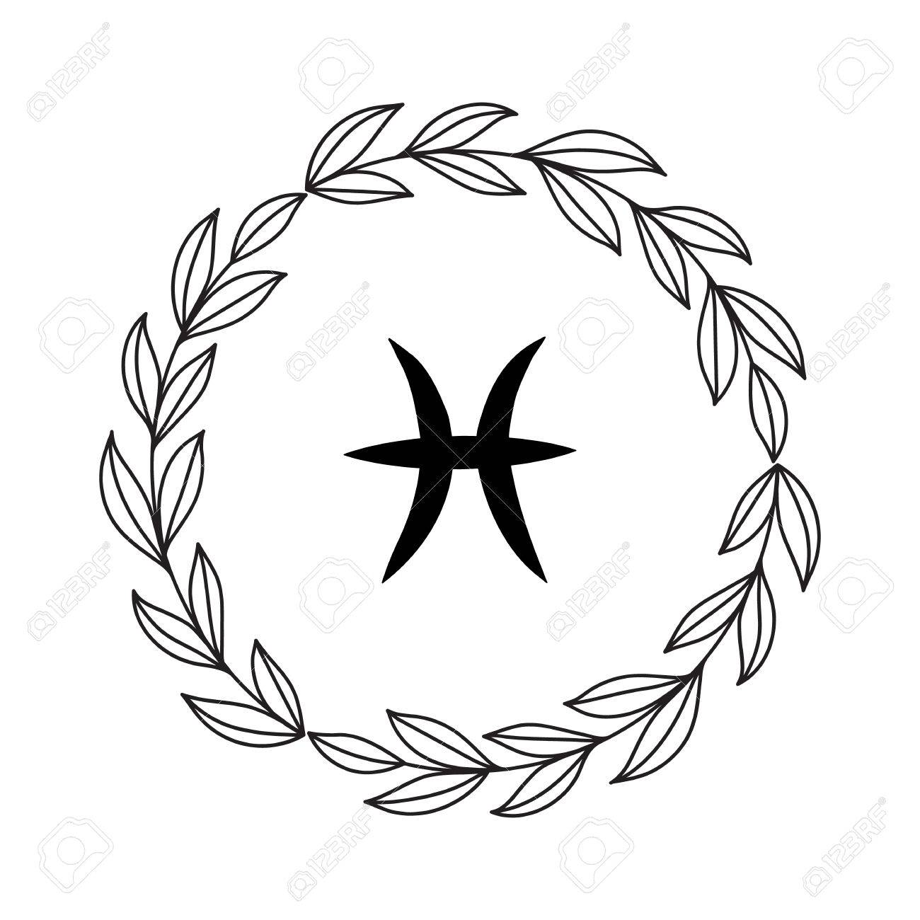 Hand Drawing Flat Pisces Symbol In Rustic Floral Wreath Stock Vector