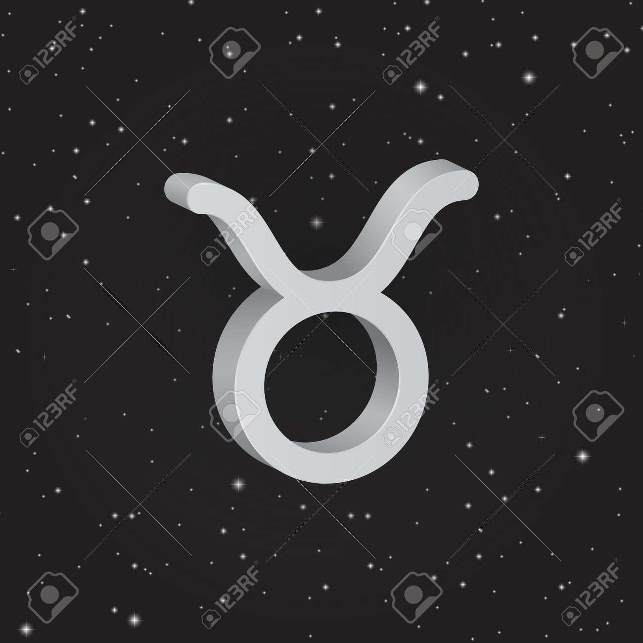 Taurus Zodiac Symbol 3d White Zodiac Icon On The Background