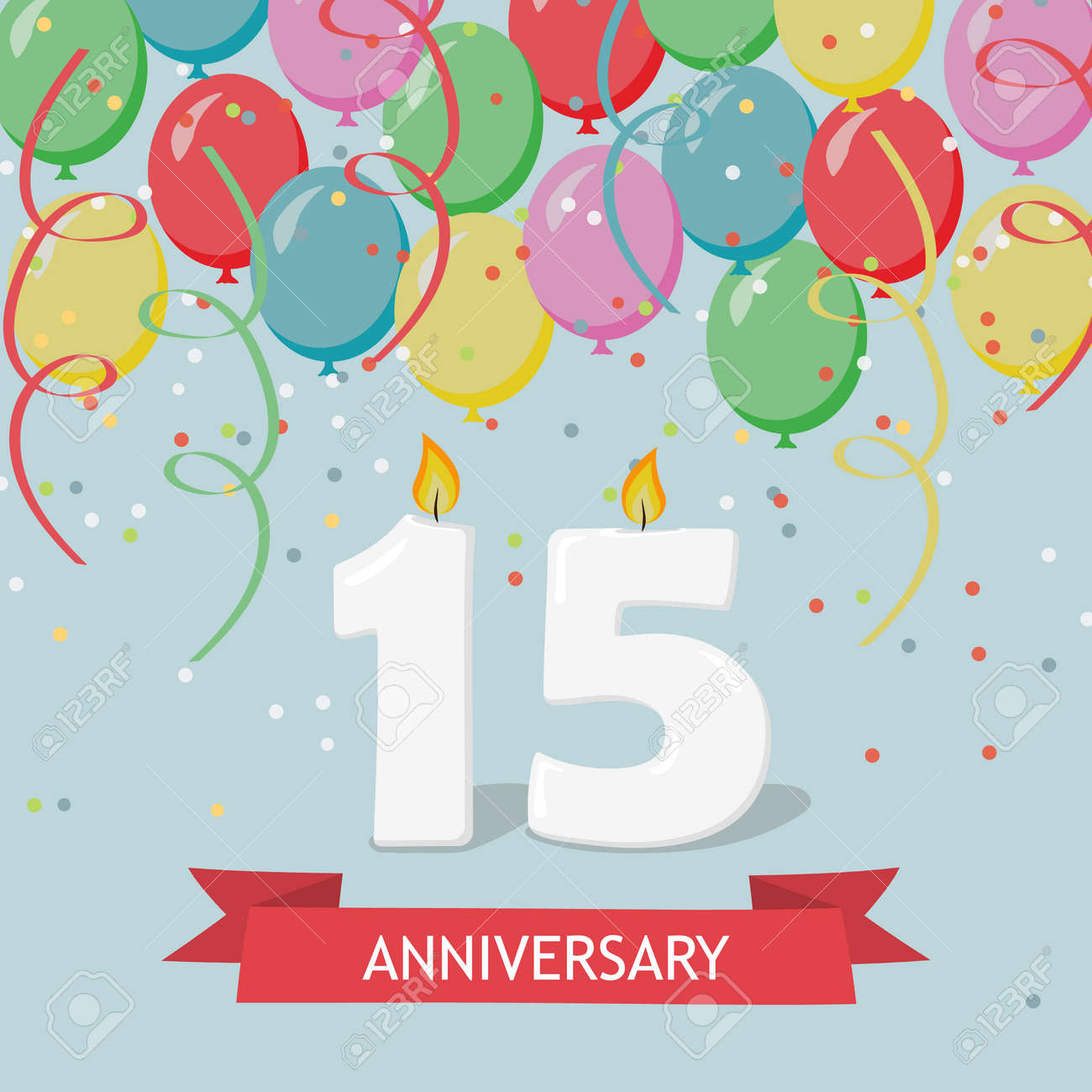 Fifteen Years Anniversary Greeting Card With Candles Confetti