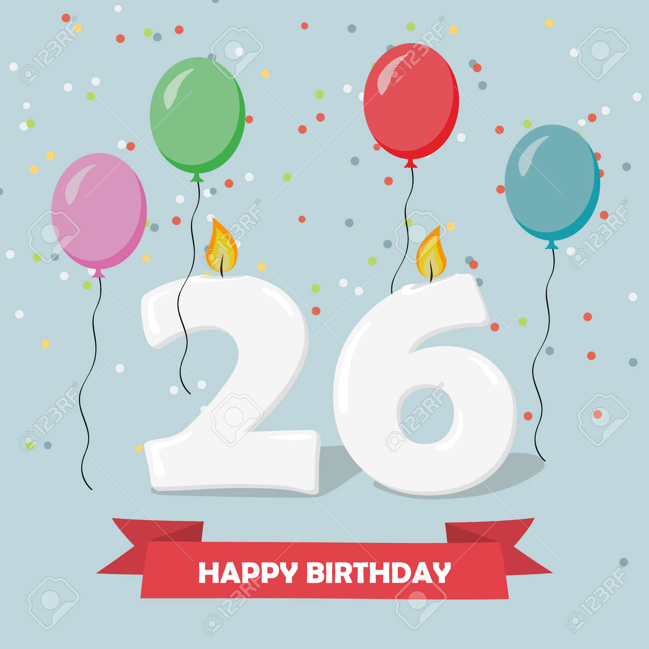 26 years celebration happy birthday greeting card with candels confetti and balloons stock