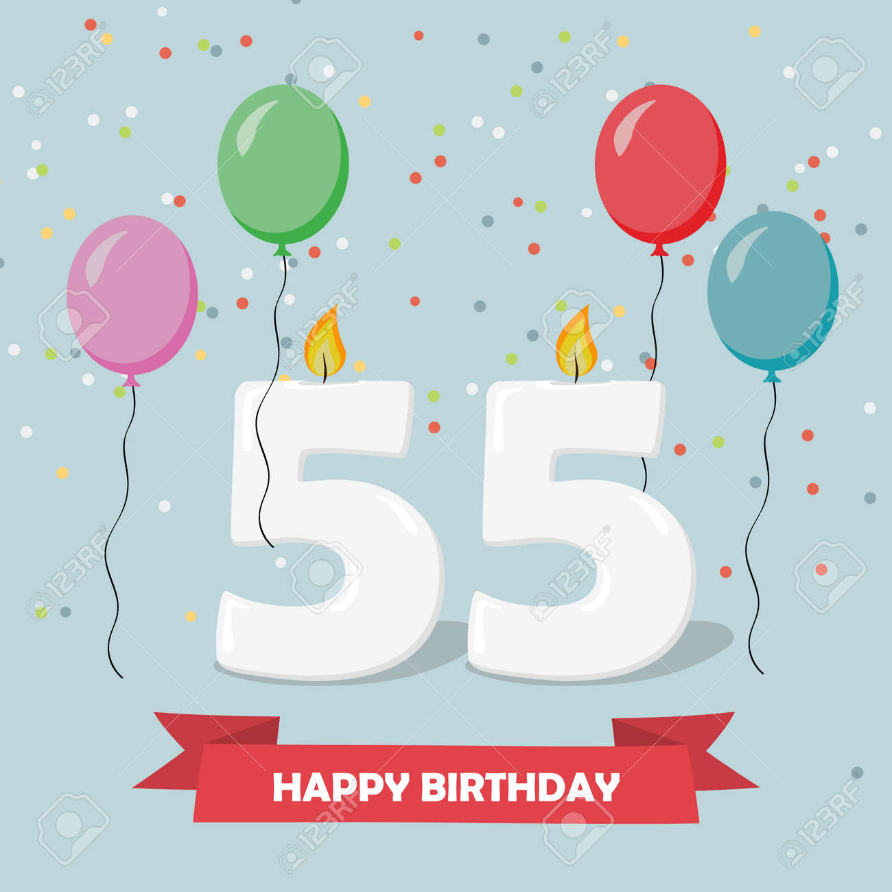 55 Years Selebration Happy Birthday Greeting Card With Candles Confetti And Balloons Stock