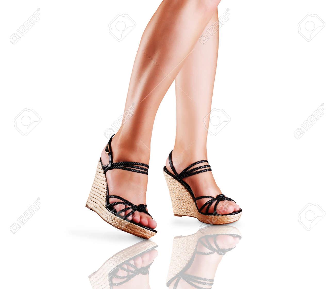 Señoras Cuña Con Suelo La Pies Sandalias El En De Tacón Reflexión 0nwOPk