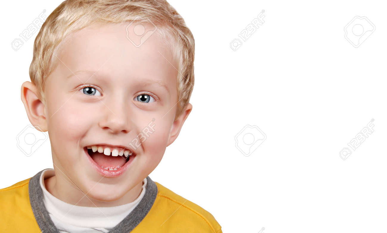 Portrait of sincerely laughing boy on white background Stock Photo - 11270110