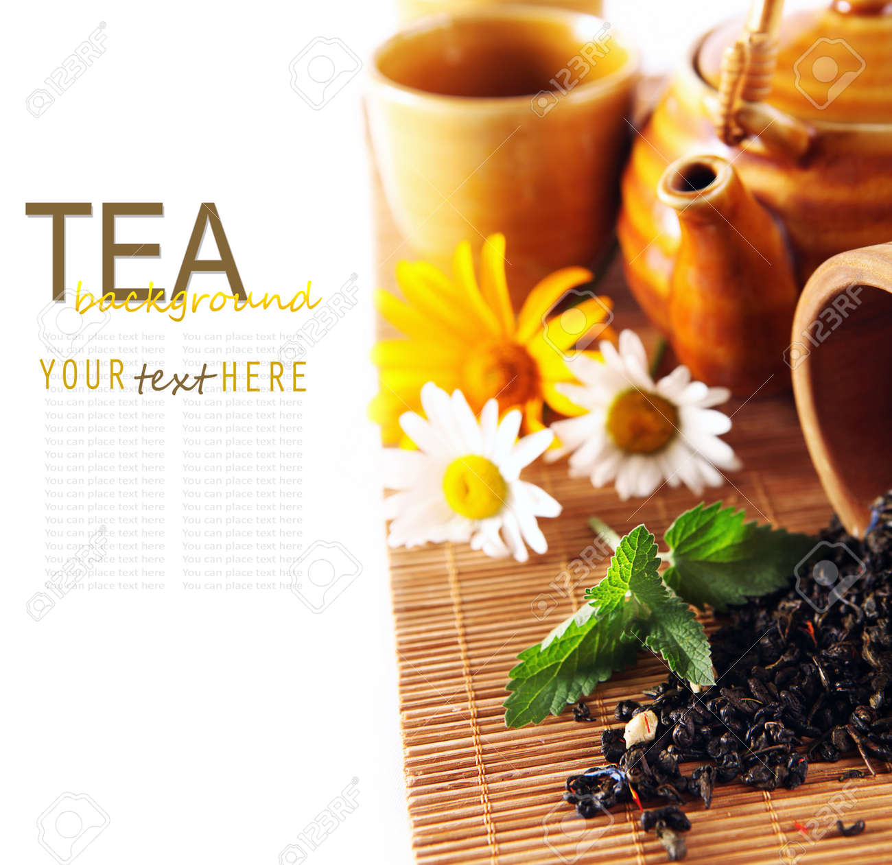 Tea theme background with daisy flowers and fresh mint Stock Photo - 14119660
