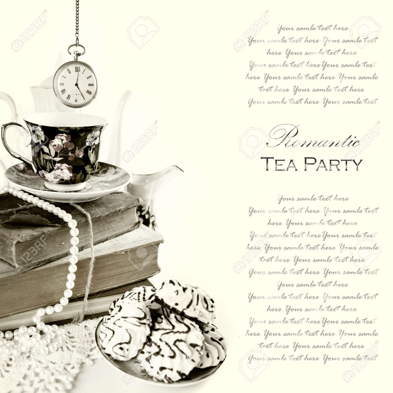 Romantic English 5 o'clock Tea Party Background with vintage pocket watch and sweets Stock Photo - 15687175