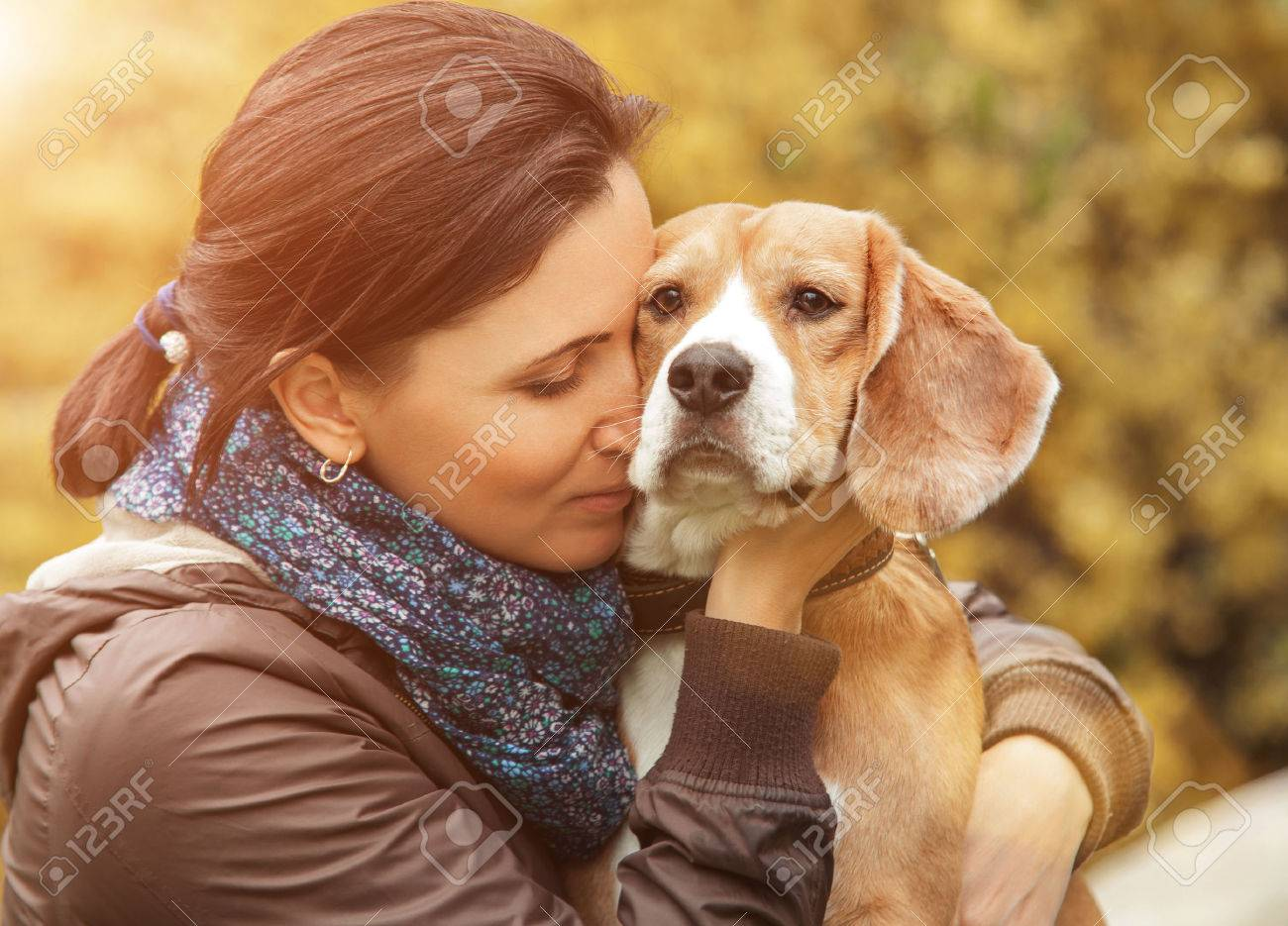 Woman and her favorite dog portrait - 45516688