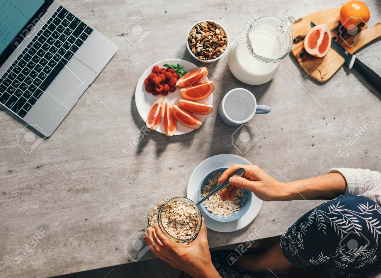 Morning time - woman prepare healthy breakfast. Top view. - 90701755