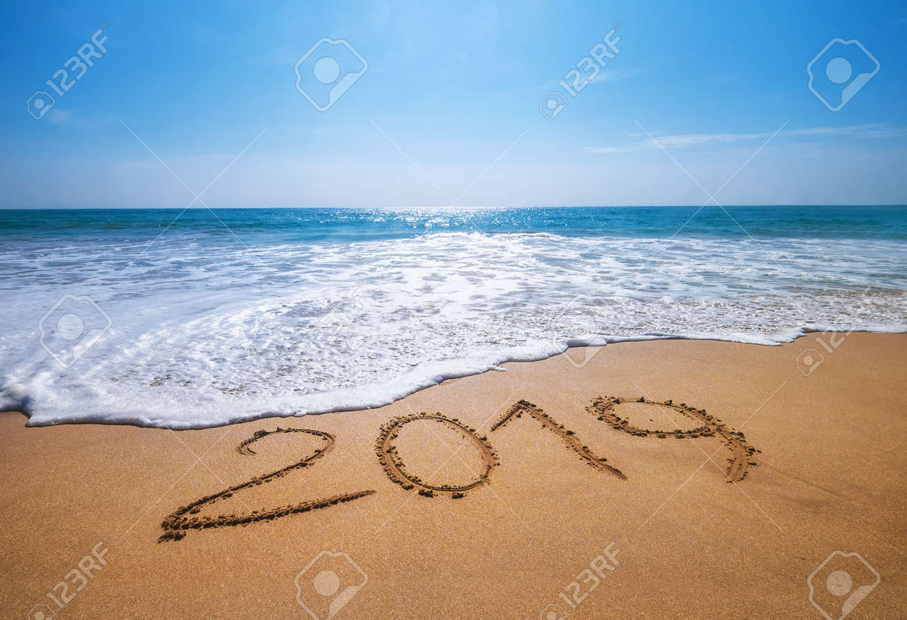 Happy New Year 2019 is coming concept sandy tropical ocean beach lettering concept image and - 110109945
