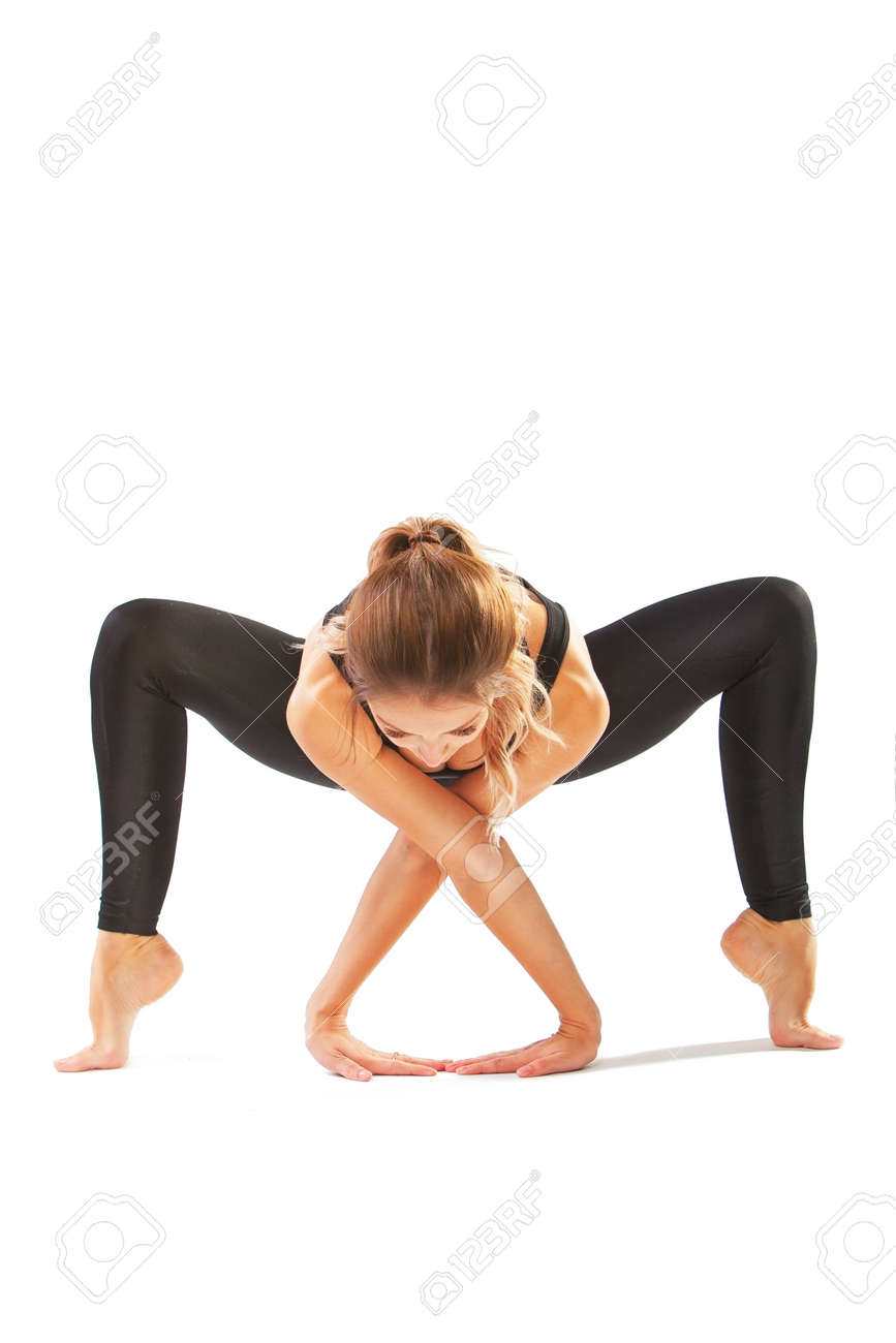 Beautiful Flexible Woman Doing Yoga Poses On White Background Stock Photo Picture And Royalty Free Image Image 90803561