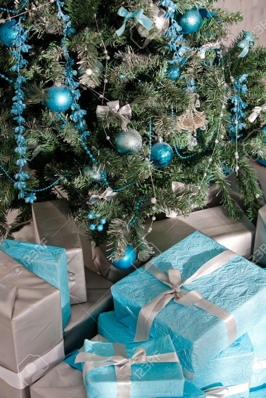 Christmas Tree Decorated With Blue And Silver Christmas Decorations Stock Photo Picture And Royalty Free Image Image 71618553