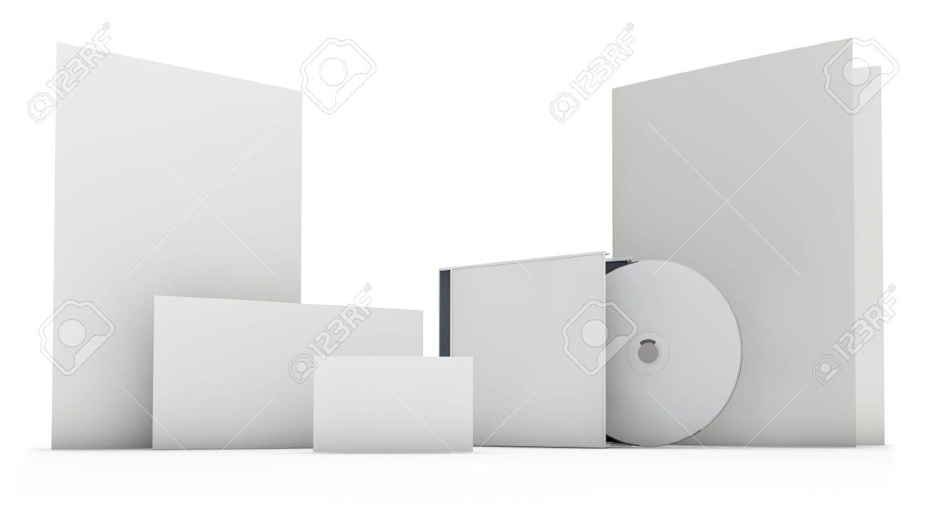 Stationery set blank 3D objects templete isolated on white - 21159381