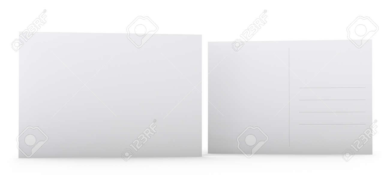 Postcard Template Blank White Front And Back Sides