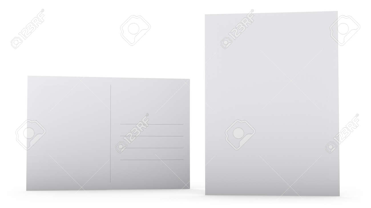 Blank Postcard Design White Front And Back Sides